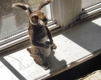 March Hare Figurine: Customizable Needle Felt Alice in Wonderland - easter rabbit