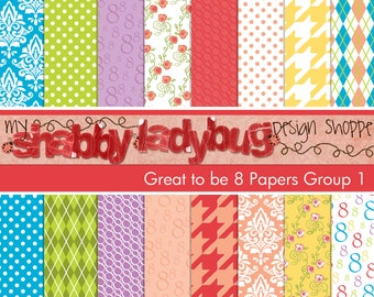 """Great to be 8 Digital Paper Collection Group 1: 16 Individual 12x12"""" 300 dpi digital scrapbook papers Baptism"""