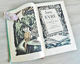 Jane Eyre Book by Charlotte Bronte, 1944 Illustrated Modern Library, Hardcover Classic Novel, Jane Eyre Mr Rochester, Victorian Romance Book