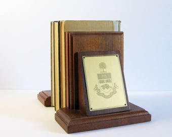 Vintage Wood & Brass Bookends - University of Toronto Coat of Arms - Book Shelf Decor - His and Hers Book Organizers - Wood Office Decor