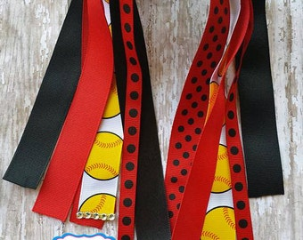 Black and Red Softball Ponytail Streamers,Red and Black Ponytail Streamers, Softball Bows,Softball Hair Bows,Red and Black Softball Hairbow