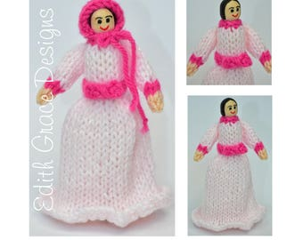 Knit Doll - Wooden Peg Doll - Doll Knitting Pattern - Peg Doll People - Victorian Dress - Toy Knitting Pattern - Doll Making - Sewing
