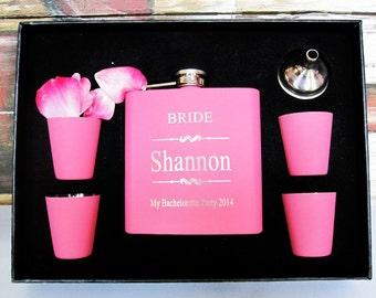 1 Bridesmaid Gift flask Set, Pink Wedding Flask Gift Set, Wedding Gift for Bridesmaids, Personalized Bridesmaid Gift