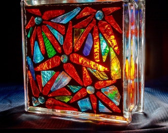 Stained Glass Mosaic Glass Block  Decor Sculpture OOAK