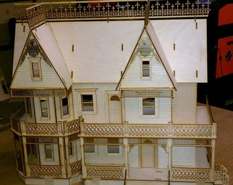 "SALE LIMITED QUANTITY Half inch scale Victorian Gingerbread Farmhouse  dollhouse miniature house kit New 1/2"" or 1/24"" scale"