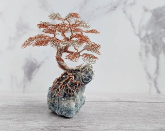 A non tarnishing silver plated copper wire and Non Tarnishing copper wire tree on a blue Calcite base. Wire tree. Tree sculpture