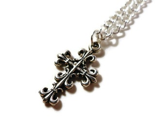Black Friday Sale, Silver Cross Necklace, Religious Jewelry, Metal Charm Necklace, Christian Jewelry, Pendant Necklace, Women's Gift Idea