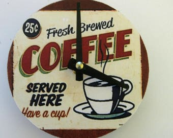 Small wall clock. Kitchen clock. CD clock. Unique clock. Recycled CD.  Small kitchen clock. Vintage ad for coffee. Coffee ad in brown.