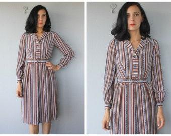 Vintage 70s Dress   1970s Shirtdress   Silk Dress   Belted 70s Shirtdress   Vintage 1970s Dress    Vintage 70s Midi Dress