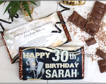 personalised happy birthday galaxy milk chocolate bar 114g n73 any age 10th 13th 16th 18th 21st 30th 40th 50th 60th birthday gift