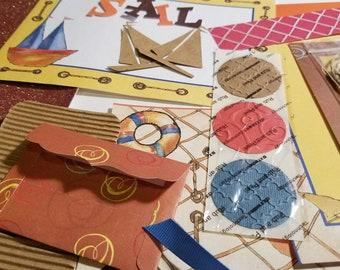 Sailboat/Nautical Themed Inspiration Kit  (Collage/Crafting/Ephemera/Junk Journal/Embellishments/Pocket Letter/Pen Pal/Scrapbooking)