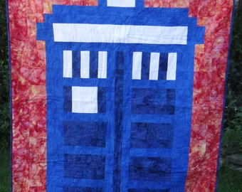 Quilt Kit - British Police Box Lap Quilt Easy Sew Weekend Blanket Pattern with Strips already cut for you