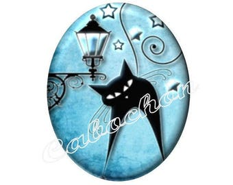 2 cabochons 25mm x 18mm glass cat silhouette, moon, stars, blue and black