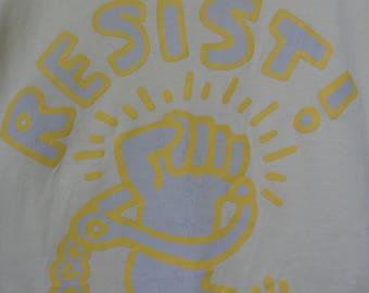 Vintage Keith Haring Resist T Shirt//American Artist Pop Art//Made in Japan