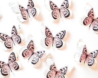 Light pink butterfly wall art for nursery decor, blush wedding decoration, blush home decor, pale pink wedding decor, blush nursery decor