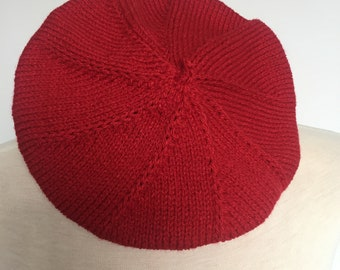 Hand knitted vintage inspired reproduction beret