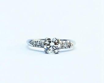 Art Deco White Gold Diamond Solitaire Engagement Ring