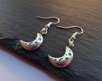 Moon Charm Earrings, Moon Earrings, Charm Earrings, Silver, Moon Jewellery, Dangle Earrings, Drop Earrings, Gift For Her, Moon Charms