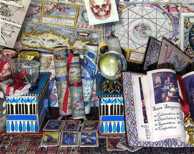 The Alchemist, Paperminis, Bastelkit of paper in miniature for the doll's room, the doll house, Dollhouse Miniatures