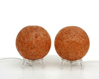Pair of table lamps warm light amber colored balls
