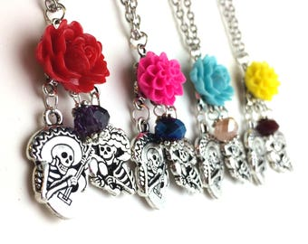 Mexican Sugar Skull Necklace - Day of the Dead Necklace - Skeleton Necklace - Mexican Jewelry - Colorful Flower Long Chain Guitar Maraca