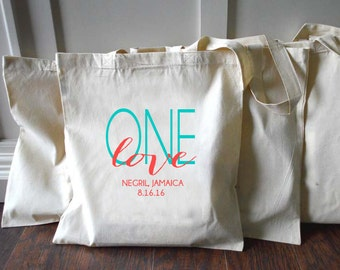 20+ One Love Jamaica Custom Canvas Destination Wedding Welcome Tote Bags - Eco-Friendly Natural Cotton Canvas