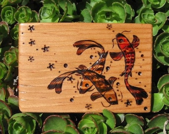 Three Koi with Cherry Blossoms on ATC Sized Fir Wood Block Pyrography Wood Burning
