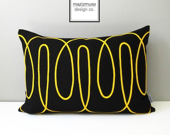 Modern Black & Yellow Outdoor Pillow Cover, Decorative Black Lemon Yellow Sunbrella Cushion Cover, Looped Geometric Pillow Cover, Mazizmuse