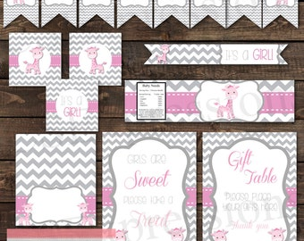 Pink and Gray Giraffe Baby Shower Printable Party Package