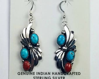 Native American Navajo handmade Sterling Silver Turquoise and Mediterranean Coral dangle earrings