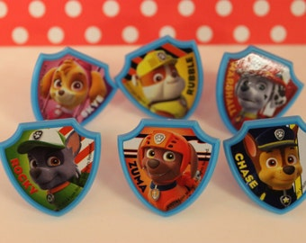 Paw Patrol Rings / Cupcake Toppers / Favors / Decorations