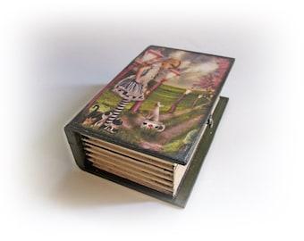 Alice in Wonderland  Alice Book Box Trinket Jewelry Box Alice's Adventures Box Alice Decoupage Box Personalized Book Box  White Rabbit