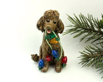 Poodle Brown Porcelain Clay Christmas Ornament Figurine Handmade