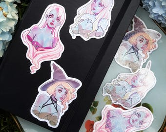 Glowing Hair Girls sticker set