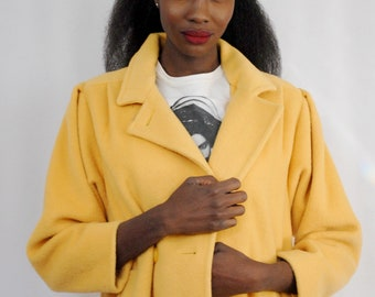 Bright yellow wool blend double breasted coat 1990s 90s VINTAGE