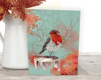 Greeting cards of a Red Robin bird, Nature card from an original bird illustration