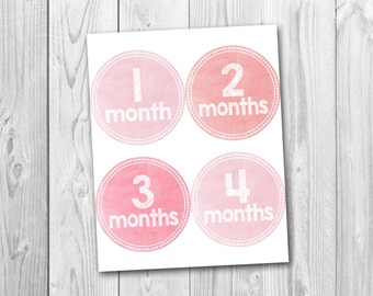 Printable monthly onesie stickers, instant download, baby's first year, photo prop stickers