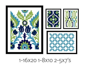 Collage Wall Art Gallery - Set of (4) - Prints - Custom CHOOSE your own size!!! gallery wall art custom colors & different sizes available