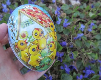 Vintage Egg Paper Mache Easter Decor Candy Container Germany