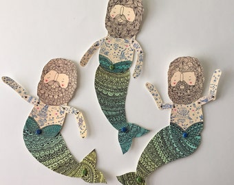 Vintage merman paper doll- Handmade from a print of an original illustration OOAK Nautical Adventure-Ready to Ship- merman