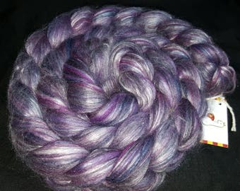 80/20 Merino wool & silk spinning fiber 4oz purple people eater