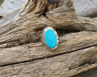 ON SALE Turquoise ring handmade in sterling silver 925 with a beautiful blue turquoise stone from Turquoise Mountain in Arizona