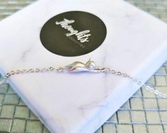 Dainty 925 Sterling Silver Hanging Cat Bracelet