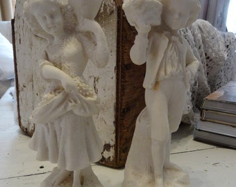 Vintage Shabby Cottage Chic Victorian Figurines