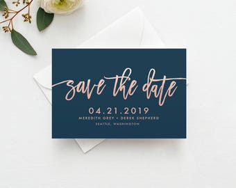 Handwritten Save the Date Template Printable INSTANT DOWNLOAD - Rose Gold, Save the Date Template, Save the Date Digital File, Save the Date
