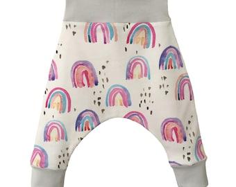 NEW! harem pants, RAINBOW, Organic Baby Clothes, Baby Harems, Girl Harems, Harlem Pants, Organic Harems, Organic Baby Harems, Baby Pants