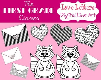 Love Letters Valentines Day Digital Line Art Hearts Raccoons --Buy 2, Get 1 FREE
