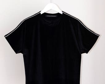 Black Velour Crop Top With White Detail on Shoulder