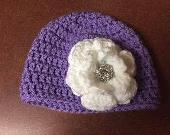 Crochet Newborn big bling flower hat