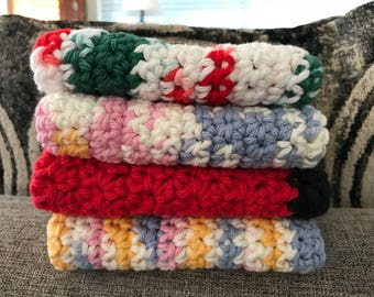 Cotton Dishcloths Set--4 total Dishcloths made with 100% Cotton